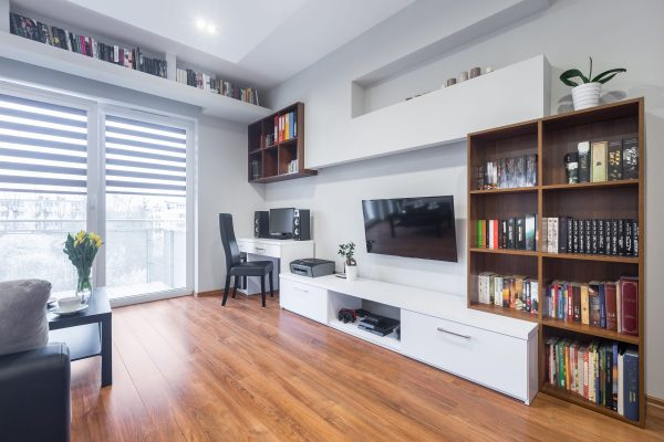 Light and spacious living room with window, TV, bookshelfs, floor panels and modern furniture